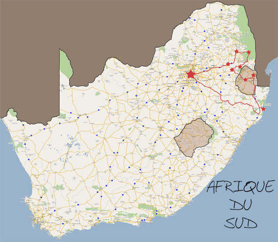 Trajet dAfrique du Sud