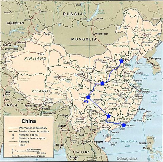 Trajet parcouru en Chine